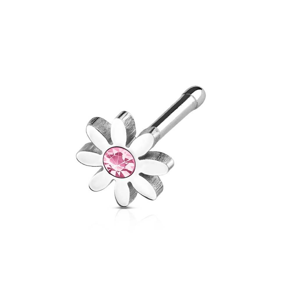 Nasenpiercing Blume mit pinken Stein