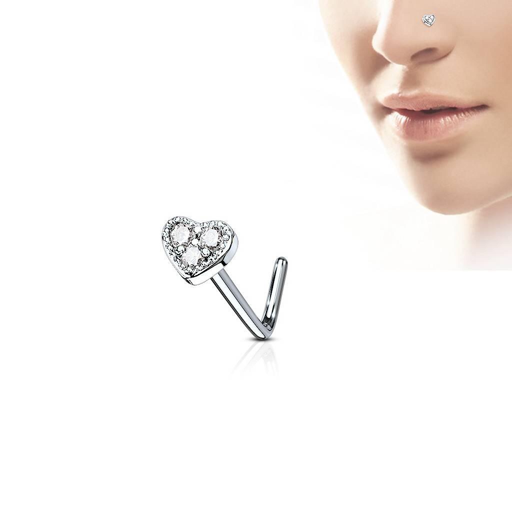 Nasenstecker Herz mit kristall Stein