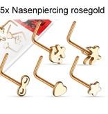 5er Set Nasenstecker rosegold