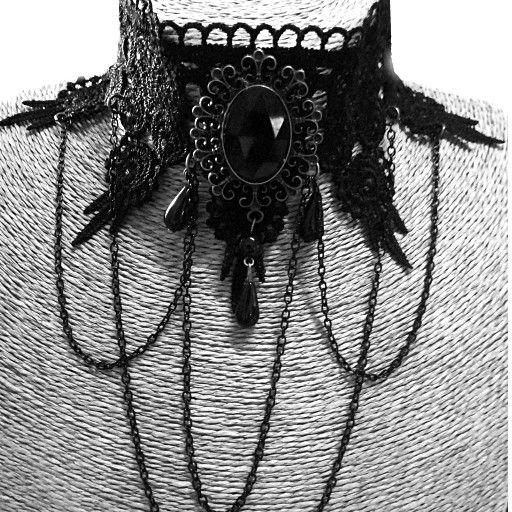 Gothic Halsband Collier mit schwarzen Amulett