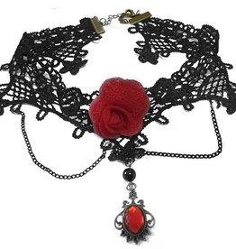 Schwarzes Hals Collier Rose