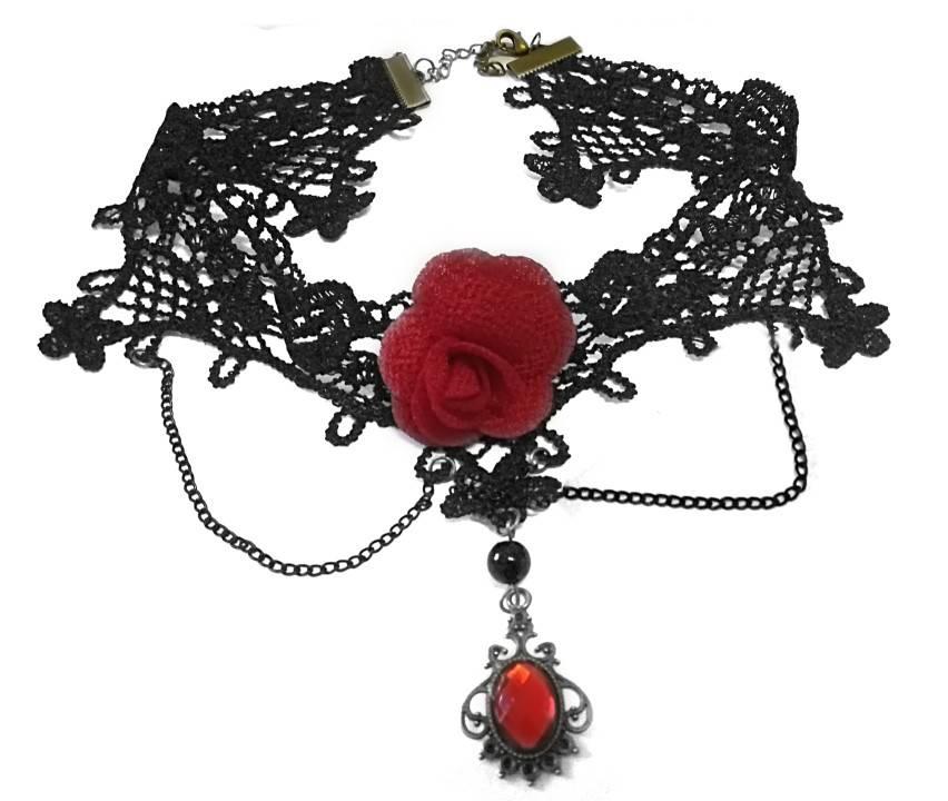 Schwarzes Choker Collier mit roter Rose