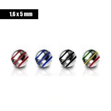 5mm Piercing Kugel 1,6 mm - 4 Farben
