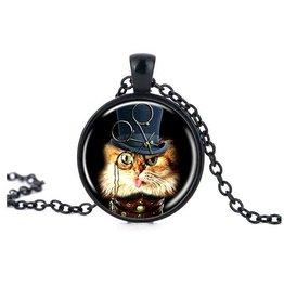 Schwarze Halskette Katze