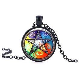 Schwarze Halskette Pentagramm