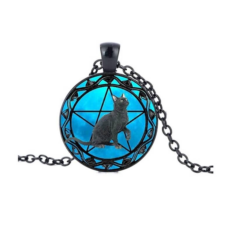 Schwarze Halskette Katze mit Pentagramm