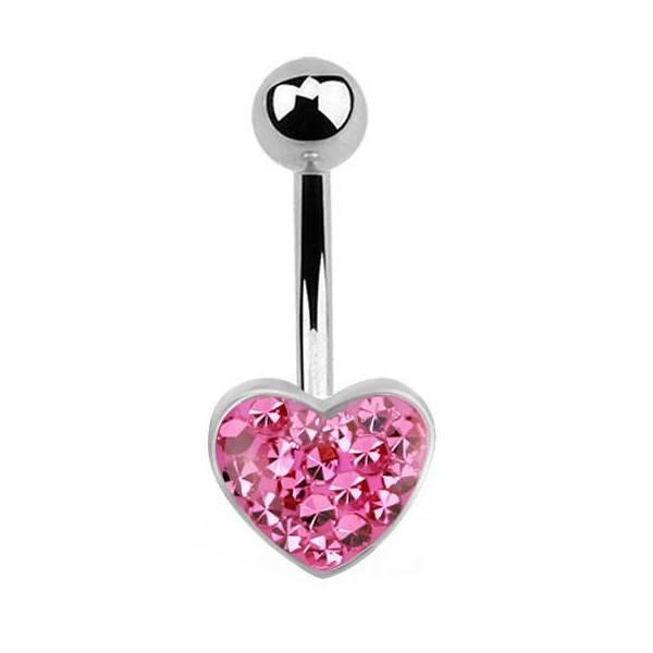 Nabelpiercing Herz Pink