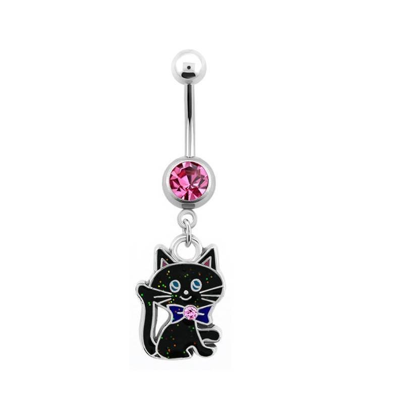 Bauchnabelpiercing Katze mit pinken Stein