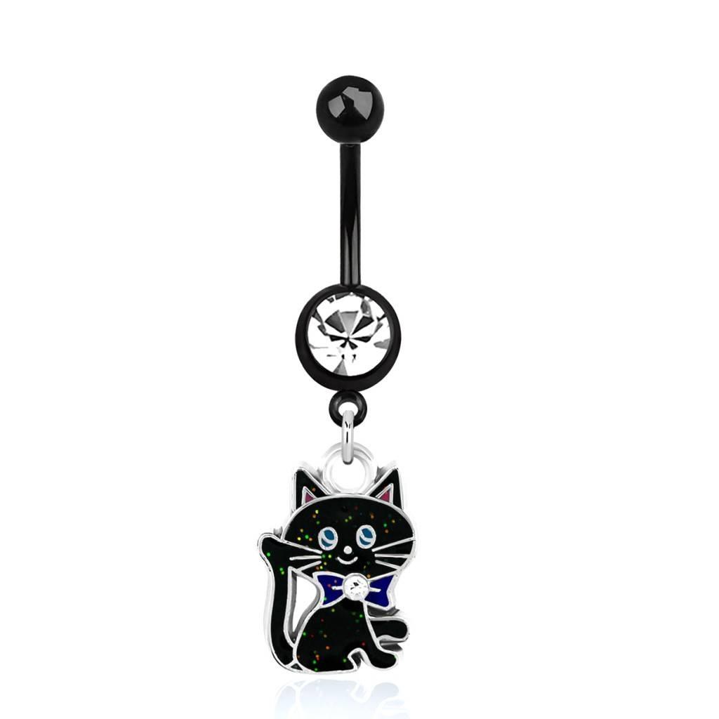 Schwarzes Bauchnabelpiercing Katze