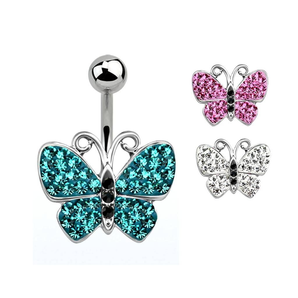 Glitzer Bauchnabelpiercing Schmetterling