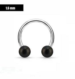 1,6 mm Hufeisen Ring mattiert schwarz