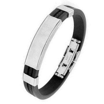 Kautschuk Armband mit Edelstahl Schild