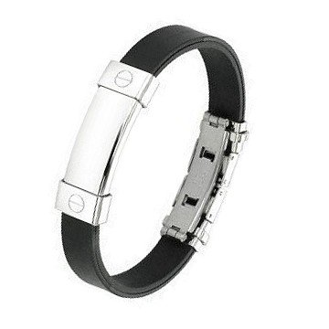 Armband aus Kautschuk mit Edelstahlverschluss