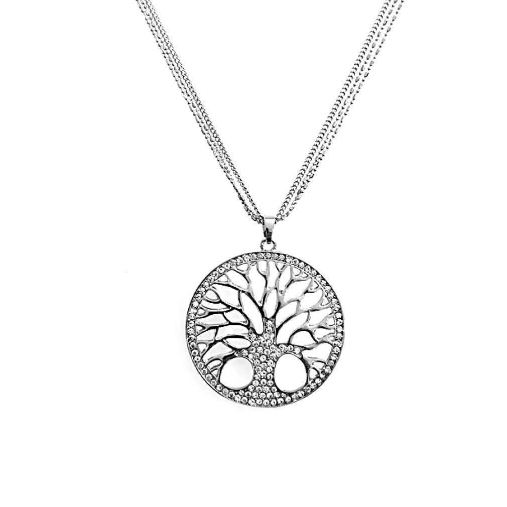 Damen Halskette Lebensbaum Silber
