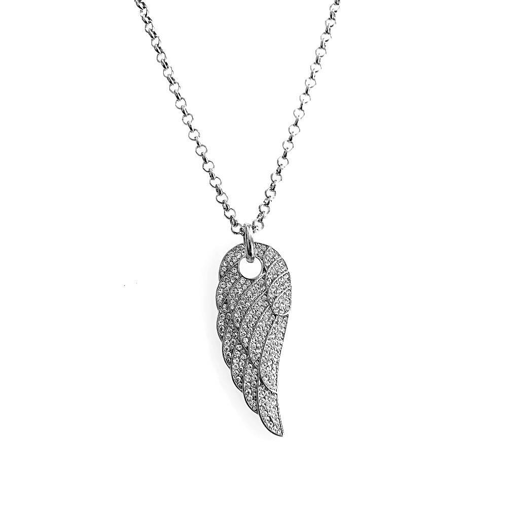 Damen Halskette Engelsflügel silber
