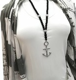 Lange schwarze Halskette mit Anker Anhänger