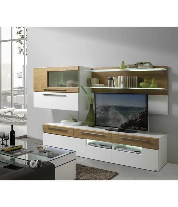 holtkamp wohnwand lack wei wildeiche restposten hochwertige m bel lagerware. Black Bedroom Furniture Sets. Home Design Ideas