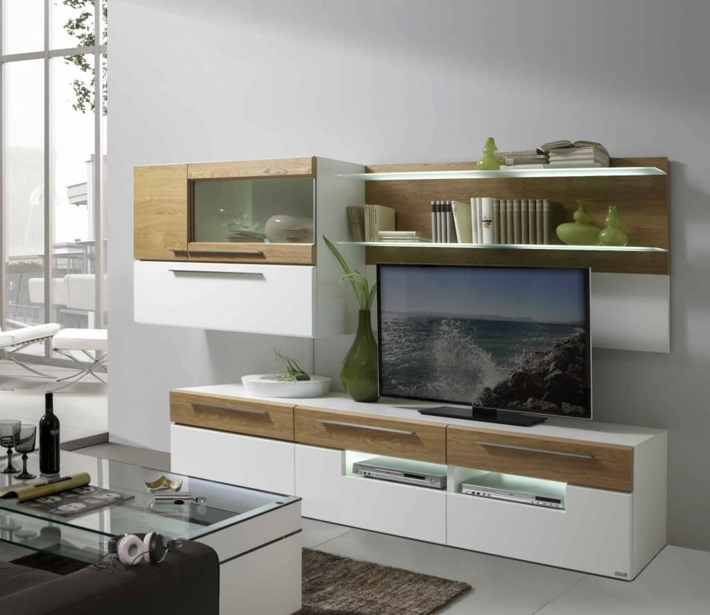 holtkamp wohnwand lack wei wildeiche restposten. Black Bedroom Furniture Sets. Home Design Ideas