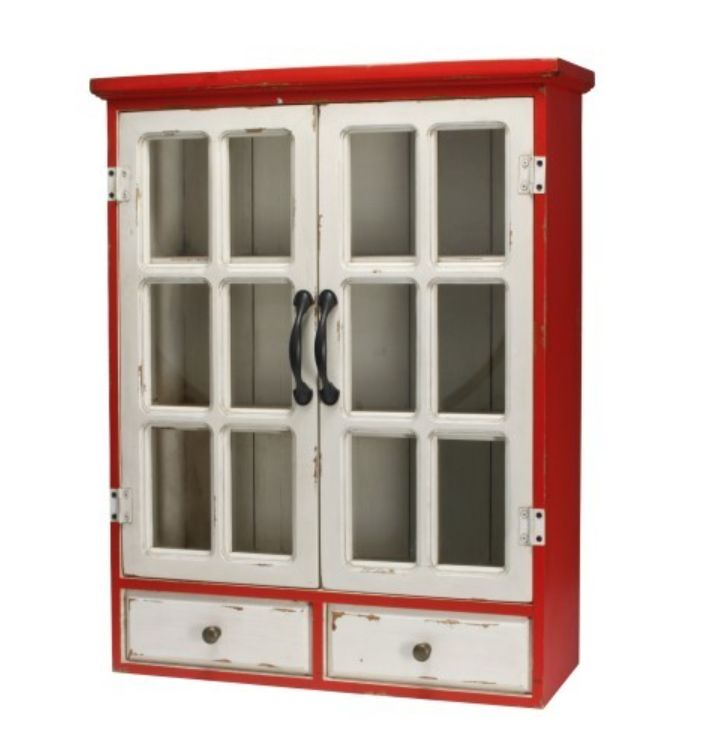 Vrolijke spaanse vitrinekast in rood en wit www for Meuble vitrine pas cher