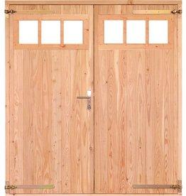 Opgeklampte deur dubbel met bovenraam onbehandeld