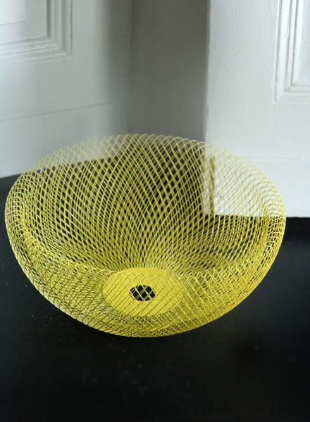 Fundamental Nest Bowl Yellow - Powder coated steel mesh fruit bowl and lampshade