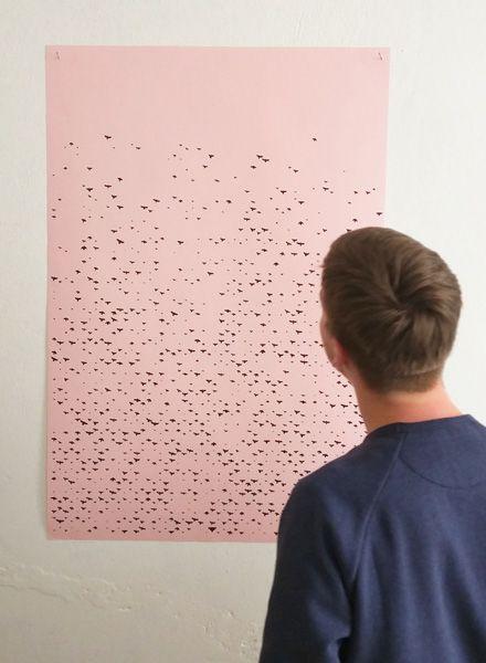 """Fundamental Poster """"Vogel"""" screenprinted on matte rose paper"""