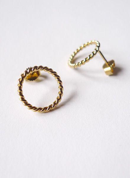 """Felicious Ohrringe """"Twisted"""" - 925er Silber und Plattierung in 750er Gold"""