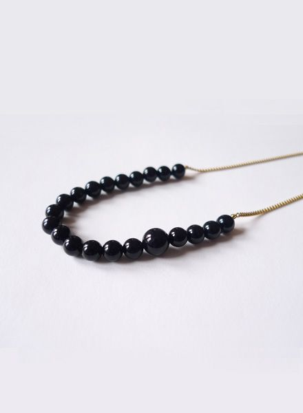 "Felicious Necklace ""Balls gold"" - 925 silver plated with 750 Gold and Onyx pearls"