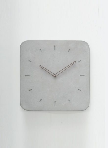WertWerke Concrete Clock Classic M grey I with wooden needle outline 30x30cm