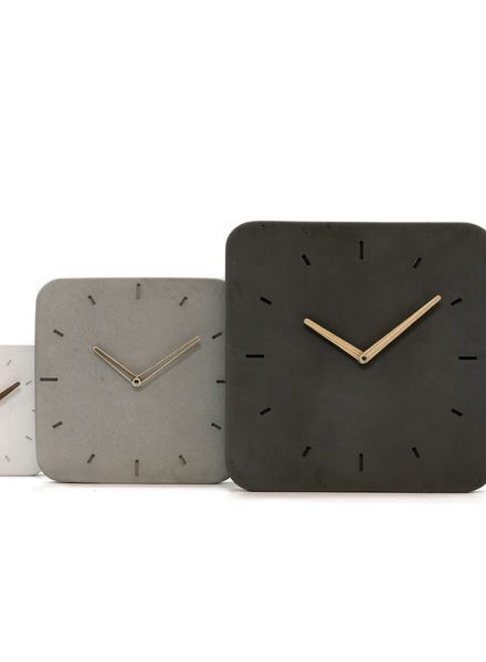 WertWerke Concrete Clock Classic S grey I with wooden needle outline 20x20cm
