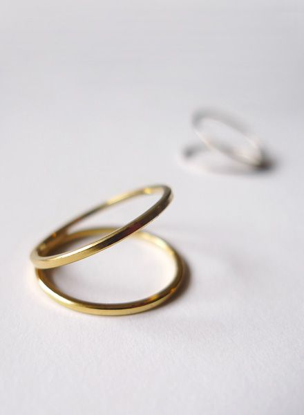 "Felicious Fingerring ""Hoops Gold"" - 925 Silver plated with 750 Gold"