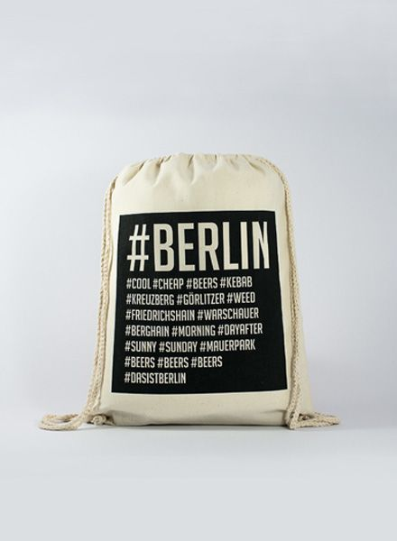 Officine Berlinesi Gym bag Hashtag with handmade screen print