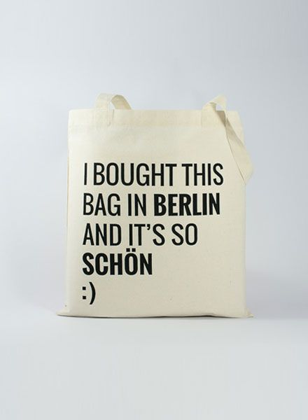 "Officine Berlinesi Jute Beutel mit Siebdruck ""I bought this bag and It´s so schön"""