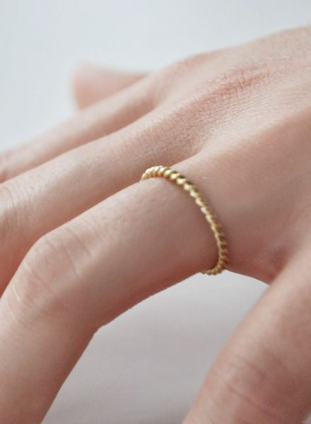 "Felicious Fingerring ""Twisted Gold"" - 925 Silver plated with 750 Gold"