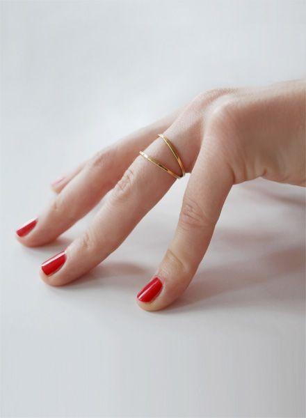"""Felicious Fingerring """"Hoops Gold"""" - 925er Silber mit 750er Goldplattierung"""