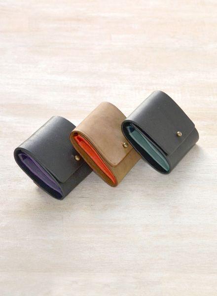 """Yushi Soshiroda Geldbörse """"Ori"""" ein schlichtes Münz-Etui aus Leder in diversen Farben"""