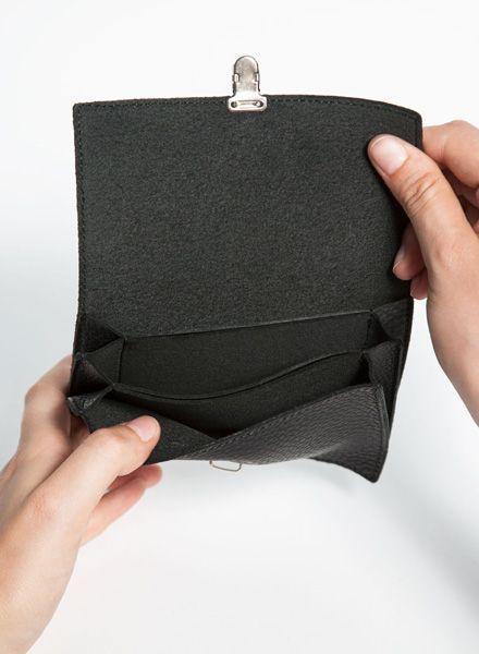 Hevan Geldbörse aus hochwertigem schwarzen Leder, handgefertigt