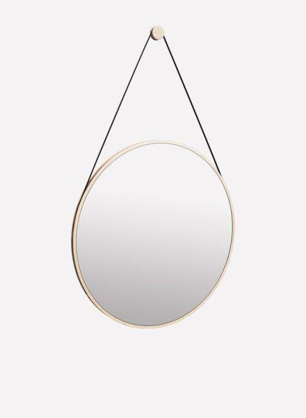 """Objekte unserer Tage Round mirror made of ash wood """"Schneider"""""""