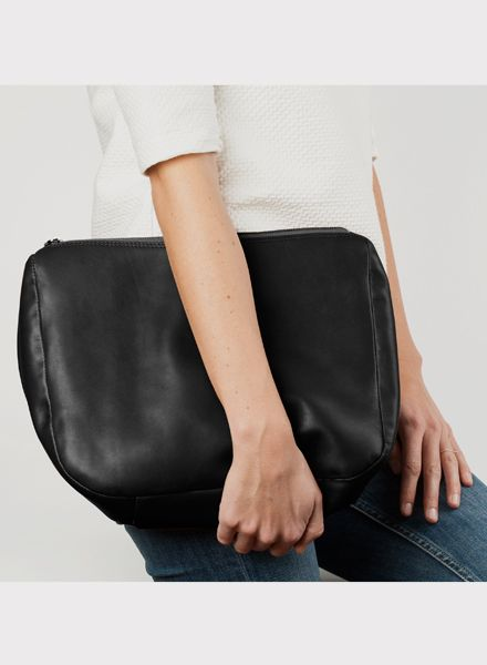 "Marin et Marine Purse/ Clutch ""Ombre nuit"" made of black vegetable tanned leather"