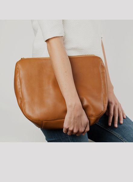 "Marin et Marine Damen-Handtasche/ Clutch ""Ombre noisette"" aus ökologisch gegerbtem Rindsleder"