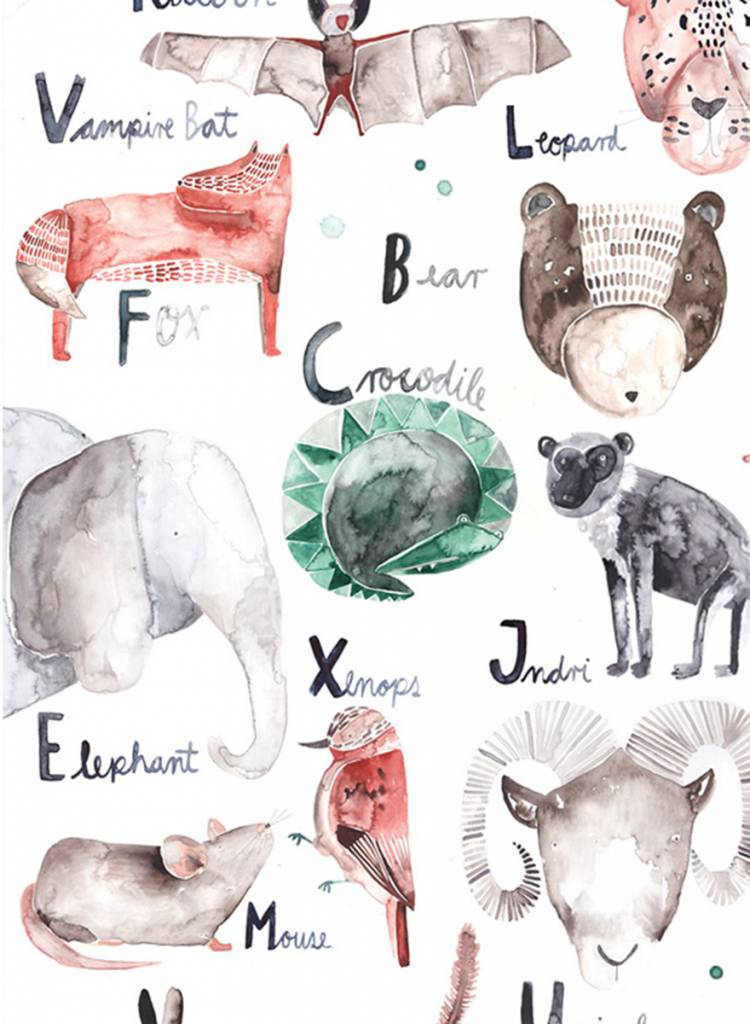 Gretas Schwester Poster Alphabet I Hand illustrated poster for kids