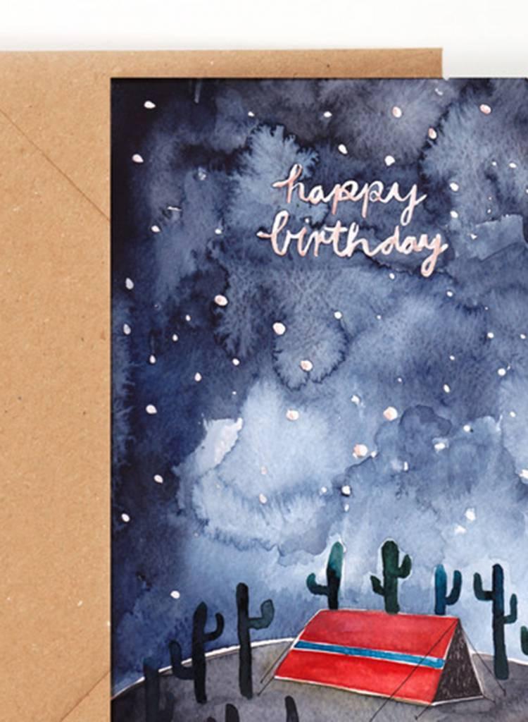 "Gretas Schwester Folding card ""Happy Birthday"" I Hand illustrated greeting card"