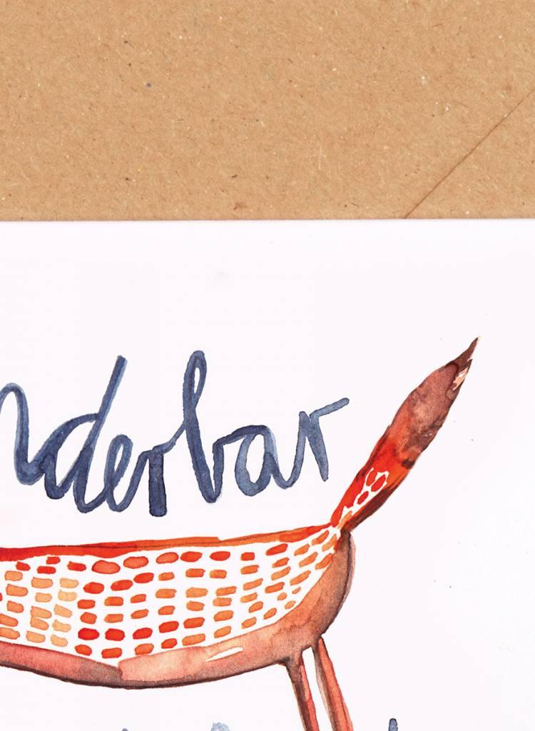 "Gretas Schwester Folding card ""Wunderbar"" I Hand illustrated greeting card"