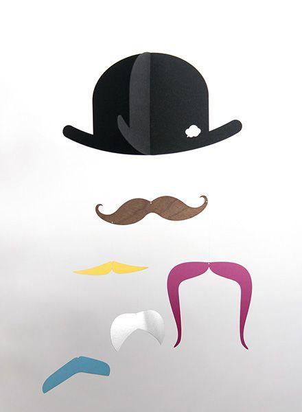 Jäll & Tofta Mobile Mr. Mustache I Mobile mit Hut-und Schnurrbartmotiven