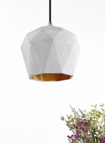 """GANTlights Hängelampe """"TRIANGLE T3"""" hergestellt aus Beton - Innenseite vergoldet"""