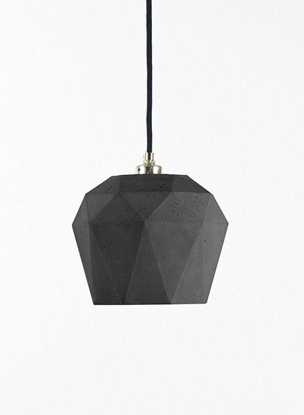 "GANTlights Pendant lamp ""Triangle T3"" made of concrete - gilded inside"
