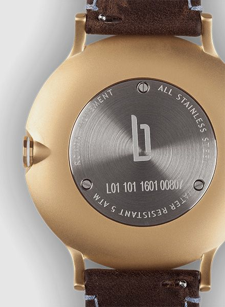 "Lilienthal Armbanduhr L1 gold I Designed in Berlin - ""Made in Germany"""