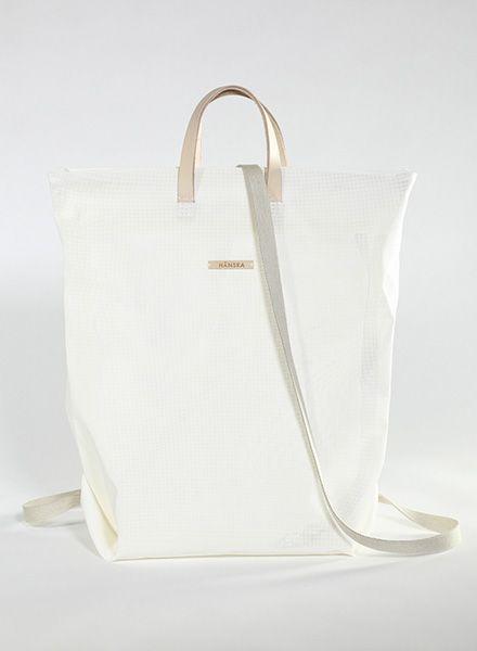 Hänska Shopper/Rucksack aus weißem Netzgewebe und Lederhenkeln