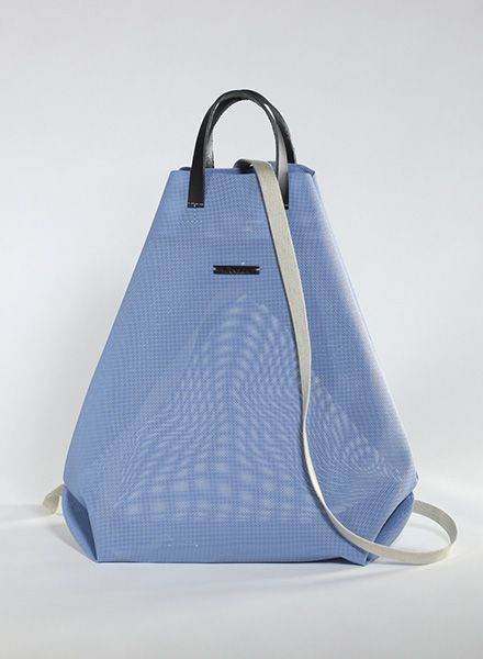 Hänska Shopper/Rucksack aus blauem Netzgewebe und Lederhenkeln
