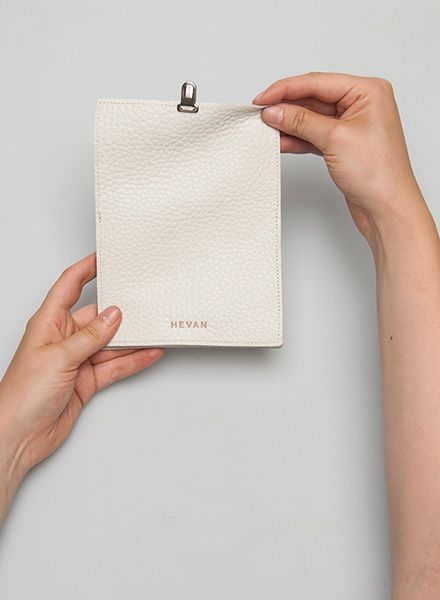 Hevan Wallet made of high quality white leather - handcrafted